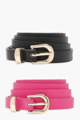 boohoo 2 Pack Skinny Belt