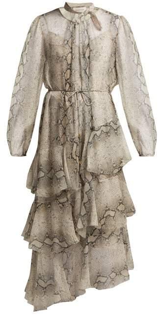 Corsage Python Print Tiered Silk Dress - Womens - Python