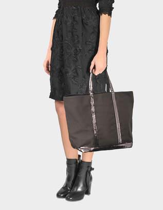 Vanessa Bruno Sequin and Canvas Medium Zipped Tote Bag in Anthracite Cotton