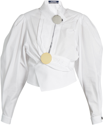 JACQUEMUS Gigot-sleeve wrap cotton blouse $447 thestylecure.com