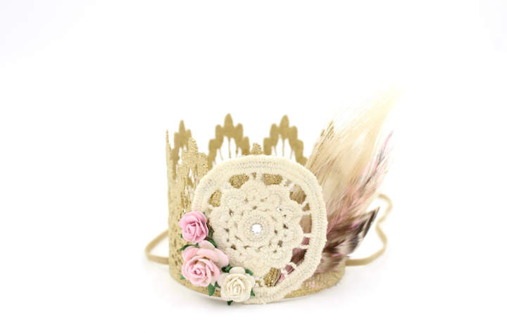 Etsy Dreamcatcher lace crown headband ||MINI Sienna crown gold + ivory + pink || flowers + feathers || Bo