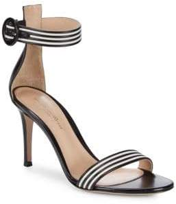 Gianvito Rossi Striped Leather Ankle Strap Sandals