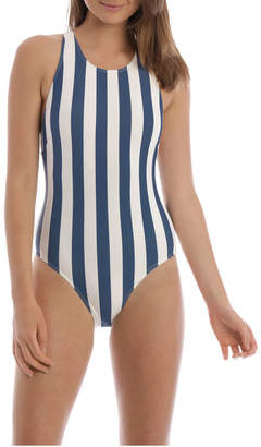 Vee Neck Stripe Cross Back - One Piece