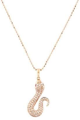 Diamond & Ruby Snake Pendant Necklace