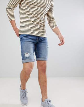 Burton Menswear Regular Fit Denim Shorts With Rips In Mid Wash