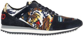 20mm Tiger Print Satin & Suede Sneakers $228 thestylecure.com