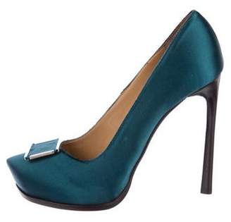 Lanvin Satin Pointed-Toe Pumps w/ Tags