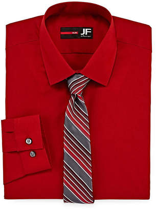 Jf J.Ferrar Jf Easy-Care Slim Fit Long Sleeve Shirt and Tie Set