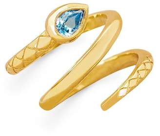 Johnny Was Snake Ring With Blue Topaz