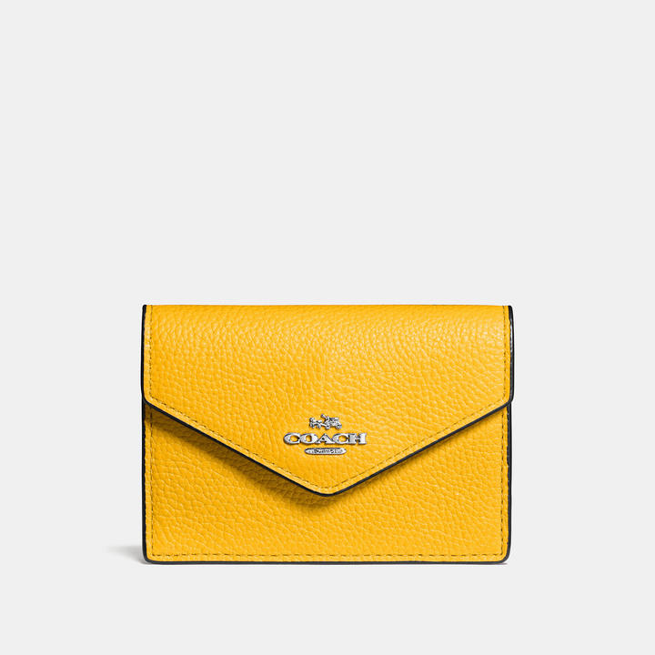 Coach   COACH Coach Envelope Card Case In Polished Pebble Leather