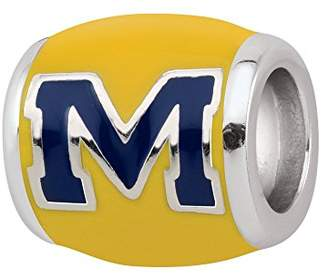 Persona Sterling Silver University of Michigan Blue M on Yellow Bead Charm