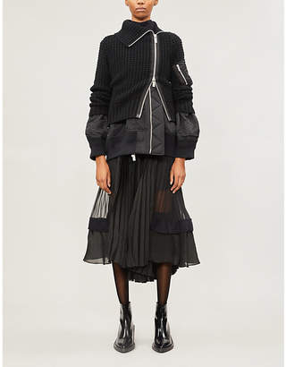 Sacai Double-layered asymmetric knitted and woven jacket