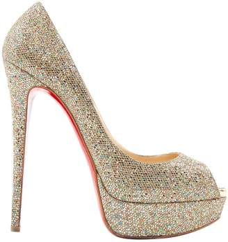 christian louboutin pigalle blue glitter pumps