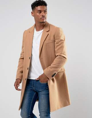 Asos DESIGN wool mix overcoat in camel