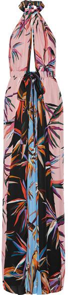 Emilio Pucci - Printed Silk Crepe De Chine Halterneck Maxi Dress - Pink