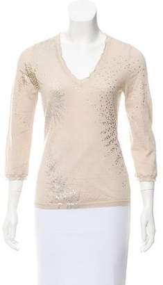 TSE Printed V-neck Sweater