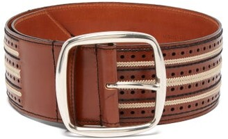 Etro Woven Stitch Floral Leather Belt - Womens - Tan