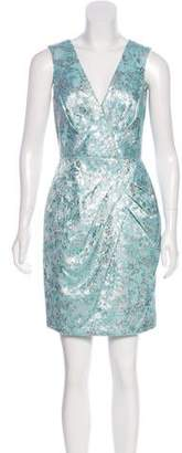 Carmen Marc Valvo Metallic Floral Dress