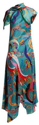 Etro Juillet Swirling Print Satin Dress - Womens - Blue Multi