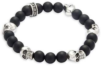 King Baby Studio Men's Onyx Skull Bracelet