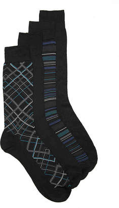 Perry Ellis Luxury Microfiber Diagonal Plaid Crew Socks - 4 Pack - Men's