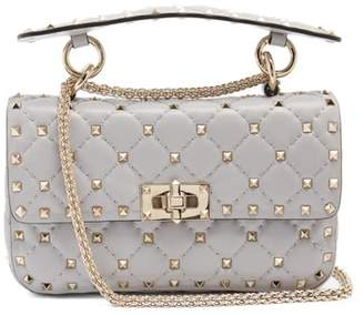 Valentino - Rockstud Spike Small Quilted Leather Shoulder Bag - Womens - Light Grey