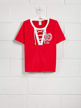 PINK University of Wisconsin Short Sleeve Perfect Lace-Up Tee