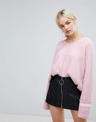 J.o.a. Relaxed Varsity Sweater With Xl Sports Stripe Cuffs