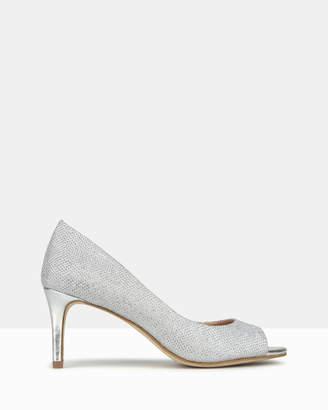 betts Debutante Metallic Peep Toe Stiletto Heels