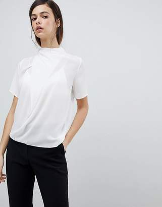 Asos Design High Neck Tee With Drape Detail