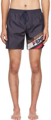 Fendi Navy Mania Tech Swim Shorts