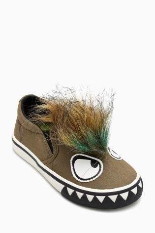 Boys Khaki Faux Fur Slip-On Badge Pumps (Younger Boys) - Green