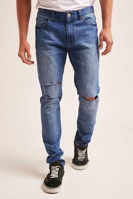 Forever 21 Ripped Knee Slim-Fit Jeans