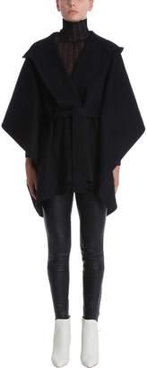 Theory Black Wool Poncho