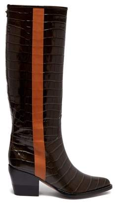 Chloé Crocodile Effect Leather Knee High Boots - Womens - Khaki