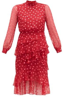 Saloni Isa Polka Dot Devore Silk Blend Chiffon Dress - Womens - Red Multi