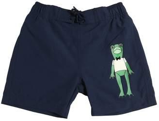 Mini Rodini Frog Print Peached Nylon Swim Shorts