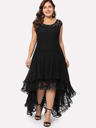 Shein Plus Dip Hem Layered Floral Lace Dress