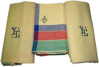 One Kings Lane Vintage French Tablecloths & Napkins Set - Set of 14