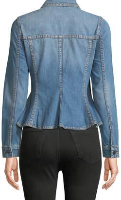 Rebecca Taylor Zip-Front Peplum Denim Jacket
