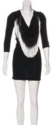 Just Cavalli Fringe-Trimmed Bodycon Dress