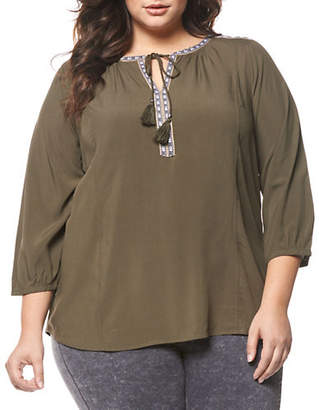 Dex Plus Embroidered Split Neck Blouse