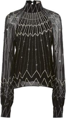 Temperley London Mockneck Embellished Georgette Blouse