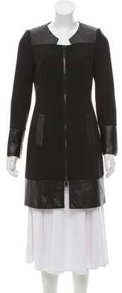 Milly Leather-Accented Knee-Length Coat