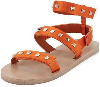 Valentino Rockstud Ankle-Strap Satin Sandals