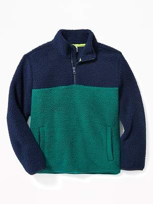 Old Navy Sherpa Color-Block 1/4-Zip Pullover for Boys