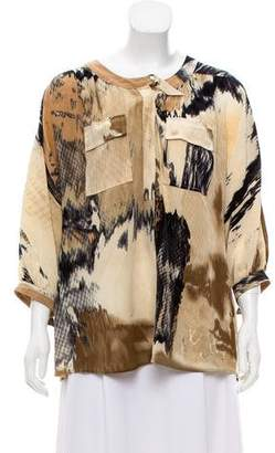 Tracy Reese Printed Silk Top