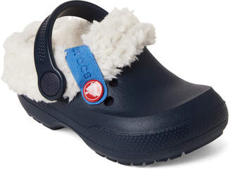 Crocs Toddler/Kids) Navy & Oatmeal Blitzen II Lined Clogs