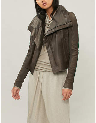 Rick Owens Funnel collar textured-leather jacket