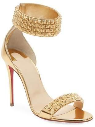 Christian Louboutin Priydora Metallic Spike Red Sole Sandals
